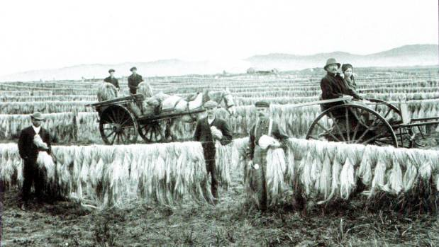 An archived photo of the Templeton Flax Mill  and its original owners