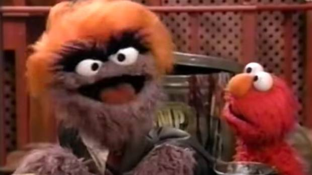 Donald Grump - a greedy, competitive boss - made a few appearances on Sesame Street, with Elmo.