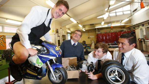 Timaru Boys' High School students Connor Wilson, 16, left, technology department head teacher Michael Howard, Richard ...