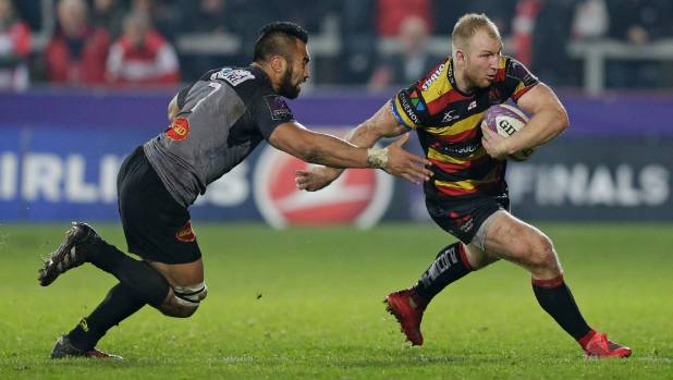 Former All Blacks loose forward Victor Vito, left, was part of an amazing try for his French club La Rochelle.