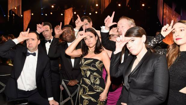 POlitical comedies are rare and usually turn up on TV: The cast of Veep - shown here - don't feel good about that.