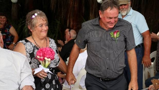 Judith and Ian Spencer got married in Te Puru Holiday Park on Saturday but had their reception hall burgled and wedding ...
