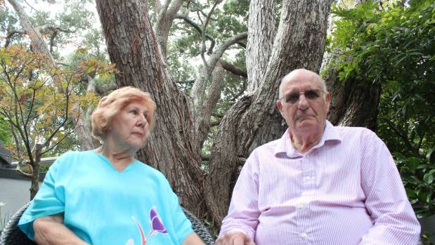The 12-metre pohutukawa tree breaking Margaret and John Chatterley's gas pipes is also slowly crushing the fence to ...