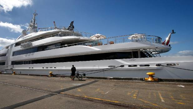 A $100 million super-yacht belonging to German screw magnate Reinhold Wurth berthed in Wellington harbour on Sunday.