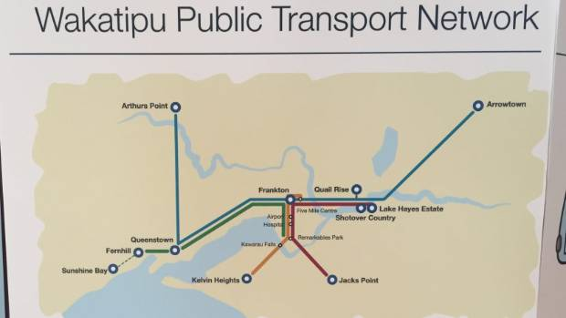 An Otago Regional Council graphic shows the four proposed routes for a new Queenstown bus system.