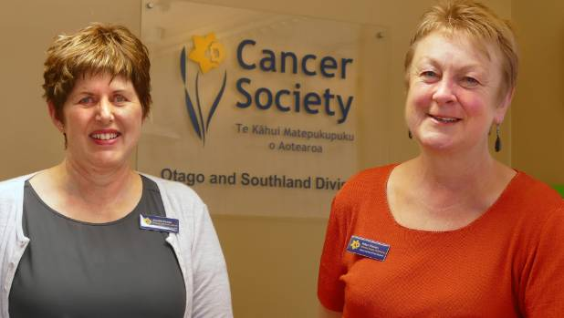 Cancer Society Supportive Care member Annette Eunson and manager of volunteering, Robyn Flowers at the Cancer Society's ...