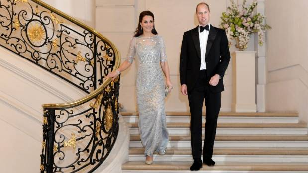 Kate wore a Jenny Packham gown to a dinner hosted by Her Majesty's Ambassador to France, Edward Llewellyn.