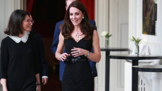 Kate wore a sleeveless black dress by Alexander McQueen for a reception at the British Embassy.