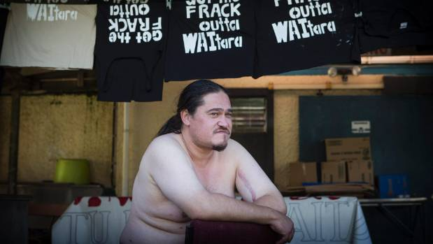 Karl Pearce at Owae Marae, Waitara, taking part in the non-violent direct action training ahead of the people's climate ...