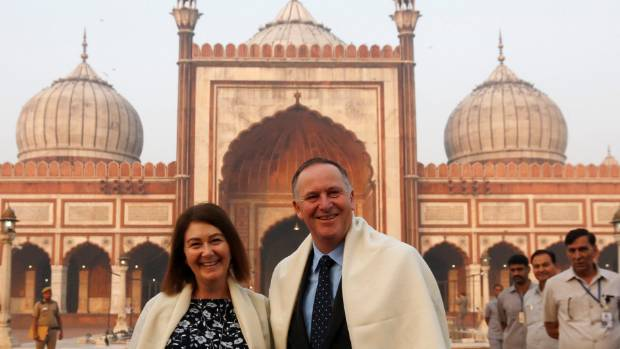 "Former prime minister John Key and his wife Bronagh during their visit to the Grand Mosque in Delhi, India. ""The fact ..."