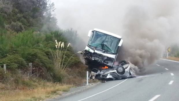 The scene of a collision between a bus and car, near Te Anau.