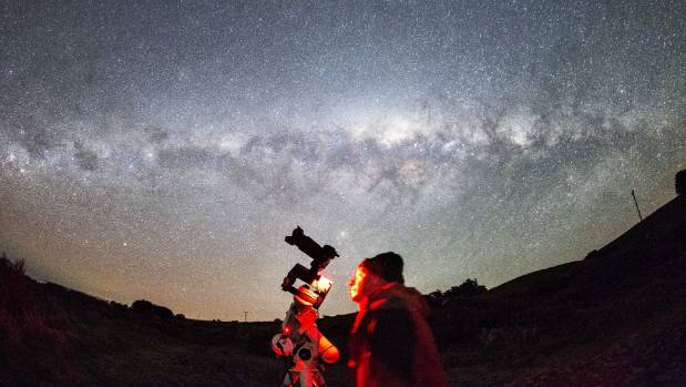 Dr Ian Griffin, of Dunedin, takes a selfie under the Milky Way galaxy while on the hunt for an aurora.