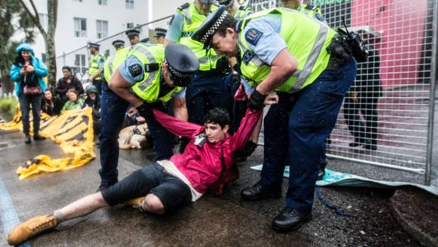 The protesters were a coalition of groups, including Greenpeace and Climate Justice Taranaki.