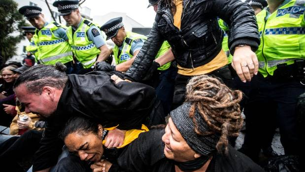 Police held back protesters who tried to block the entrance to the TSB Showplace in New Plymouth.