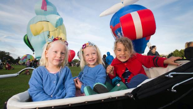 Twins Lorelei Seibicke and Clementine Seibicke, 2, with their brother Caspian Seibicke, 4, have been coming every year ...