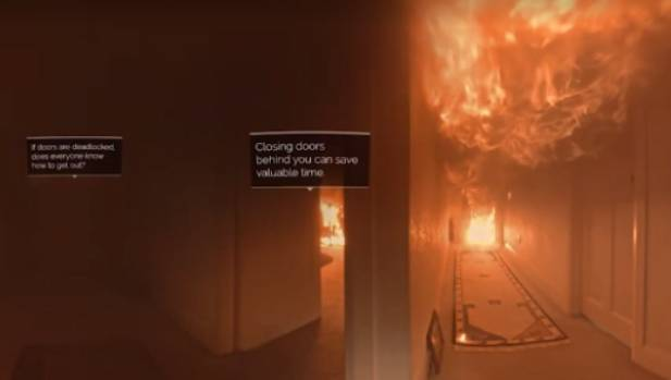 A virtual reality scene from inside the burning house.