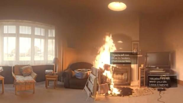 A scene from inside the burning house.