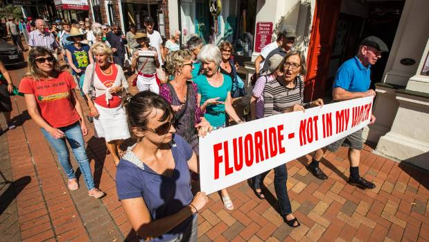 Educate don't Fluoridate group members walk down Trafalgar St, to the Nelson Council Offices to protest  against water ...