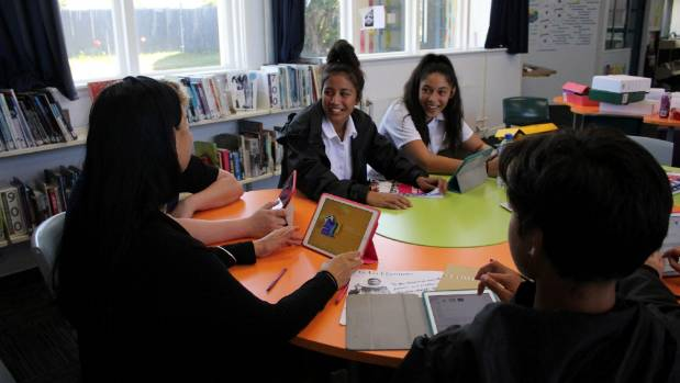 Patea Area School Principal Nicola Ngarewa usually works with the students in their learning hub R'Leeyah Nui-Luke and ...