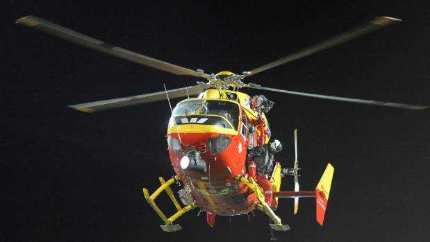 Auckland Westpac Rescue helicopter crew braved wet and blustery conditions to retrieve the critically hurt teenager.