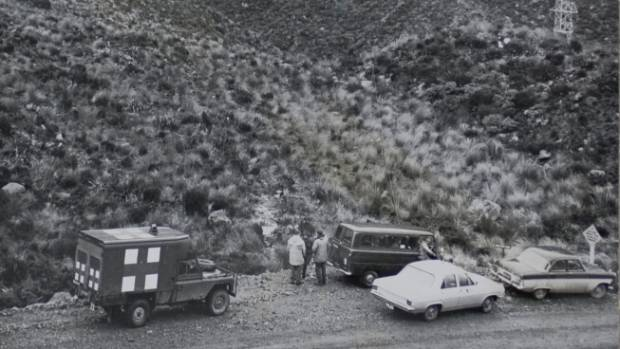 Emergency services gather in Otira Valley, which leads to the eastern face of Mt Rolleston. Photo published on June 23, 1966.
