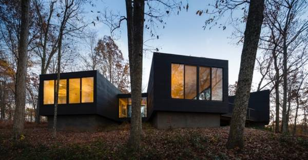 The James River House by ArchitectureFirm in Scottsville, VA, is a riverside retreat, designed as a place for three ...