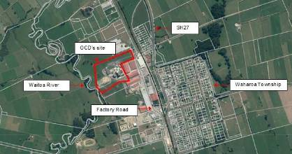 A map showing the location of the Open Dairy Country factory and the residential area of Waharoa.