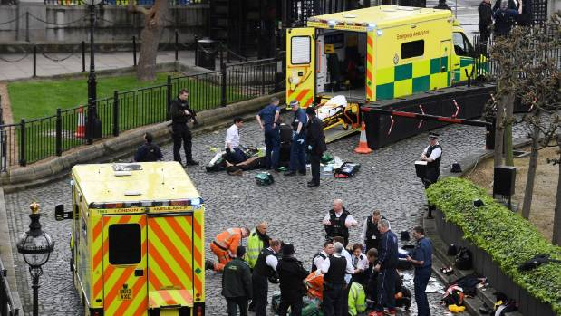 The scene outside Parliament in London after the deadly knife attack.