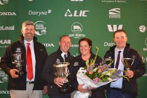 The winners of the Canterbury-North Otago Dairy Industry Awards. From left are Kerry Higgins, Christopher and Siobhan ...