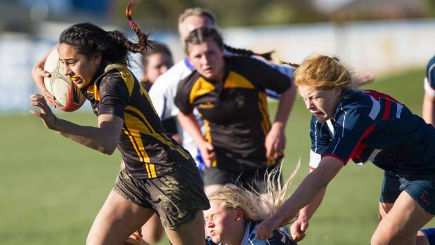 Risaleaana Pouri-Lane in action during the Crusaders region secondary schools rugby final last year.