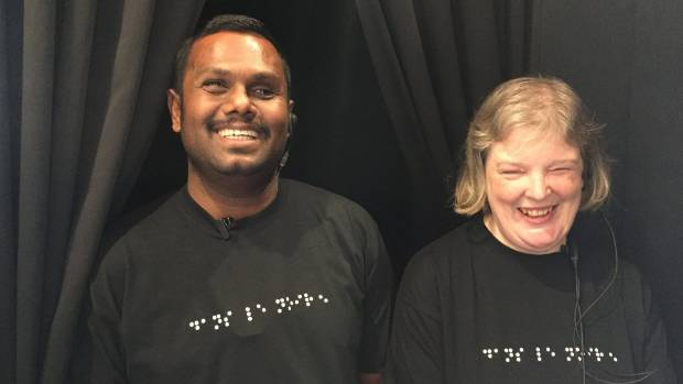 Parveen Shankar and Carolyn Peat are blind waiters for Dans Le Noir at the Rydges Hotel in Auckland.