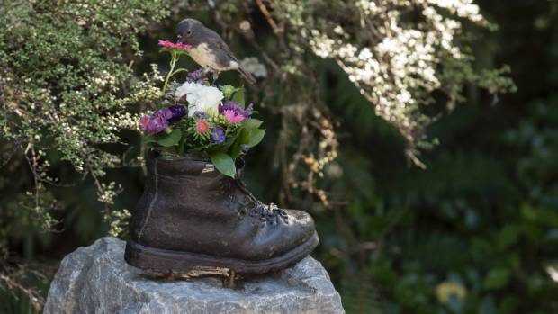 A robin takes a flower from the memorial for the five men who died in a mountaineering accident on Mt Rolleston in 1966.
