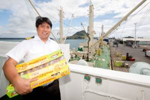 Asian Adonis captain Bernardo D. Ocampo, with part of the first shipment of kiwifruit for the season, due to leave for ...
