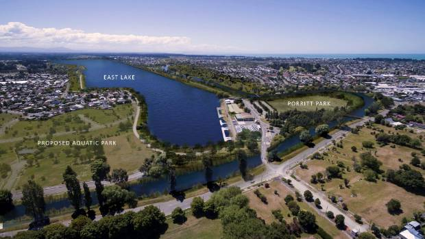 An artist's image of a rowing course proposed for the red-zoned Avon River corridor.