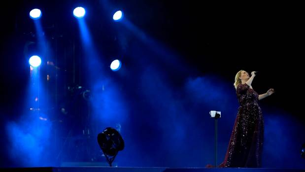 Adele performs in Auckland, a long way from home.