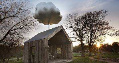 American artist Matthew Mazzatto built the Cloud House to re-create the sound of rain falling on a tin roof.