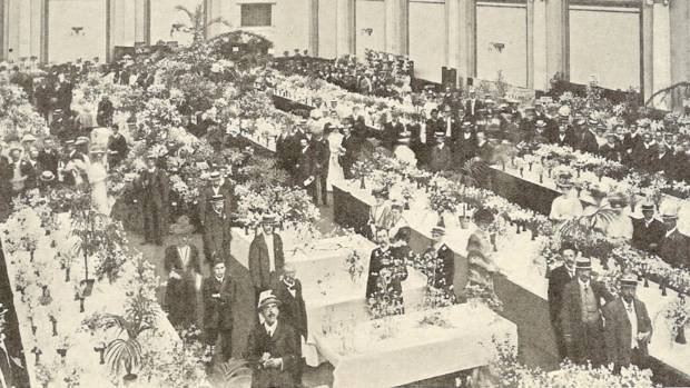 A sweet pea exhibition in Westminster, London, in 1908.