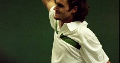 Tennis great Roger Federer in the days of his man bun.
