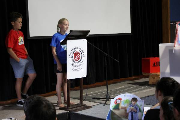 Vili Rova (left) from Stratford Primary School, and Kate Clarke from Matapu School spoke of their experiences during the ...