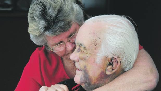 Rex McLeod, pictured with wife Lesley soon after he was beaten by Rhys Warren in 2009.