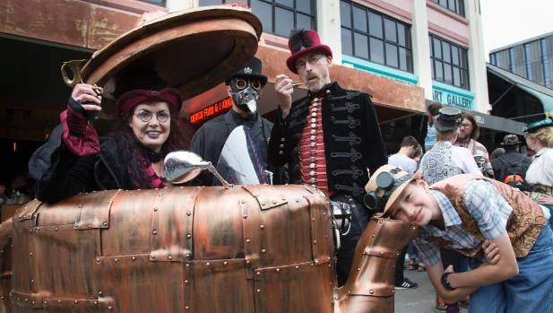 Steampunk fans, from left, Kat Douglas, Ken Newman, Neave Willoughby and Kane Warrener-Simpson, 12.