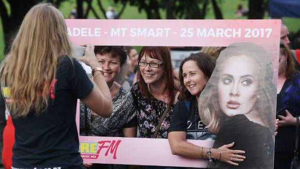 Crowds of mostly women gather for Adele at Mt Smart Stadium.