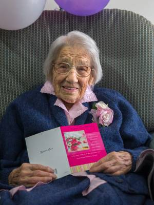 Ruth Hodgson enjoys her birthday greetings, but says 103 is just a number.
