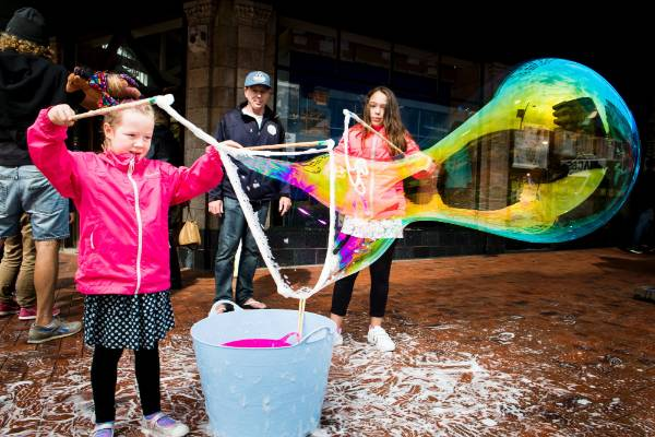 Bubble's no trouble - Isla Foster, 7, having fun.