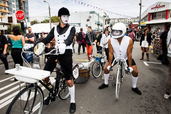 The White Face Crew Pop Riders, street clowns from Auckland.