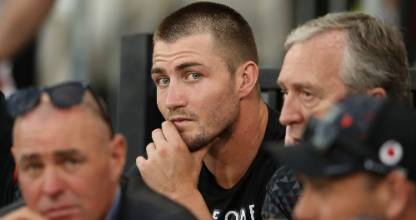 Kieran Foran watches on from the grandstand as the Warriors lose to the Dragons.