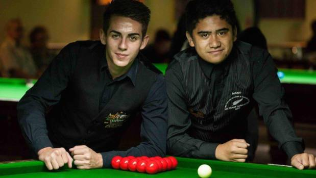 Cale Barrett and Mario Hildred ahead of the under-21 Oceania Snooker Championship final.