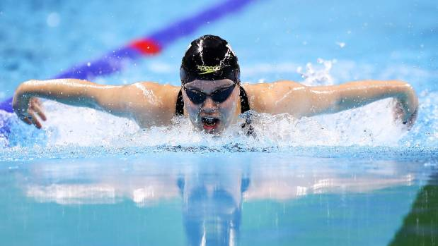 Mary Fisher powers through the butterfly leg of the 200m individual medley SM11 final at the Rio Paralympics.