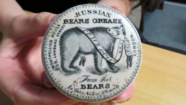 One of archaeologist Jessie Garland's favourite finds is this Price and Co Russian Bears Grease, estimated to be around ...