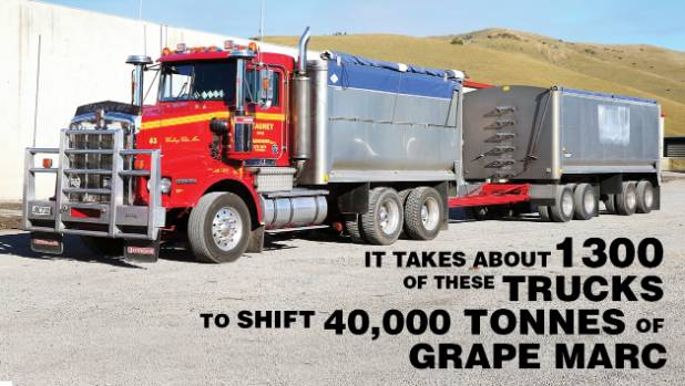 Heavy trucks will transport grape marc from wine companies to the storage facility at Flaxbourne Station, north of Ward.